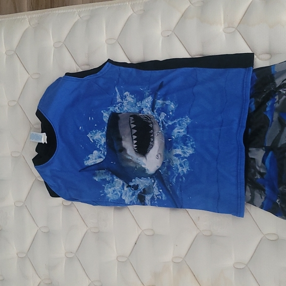 Boys shark tanktop and bottom shorts